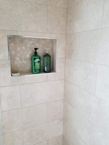 inside of a new shower